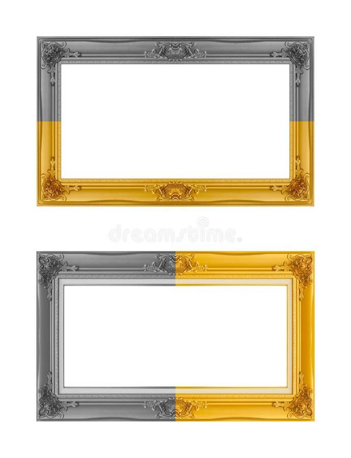 在白色背景隔绝的金黄&银色框架 免版税库存照片