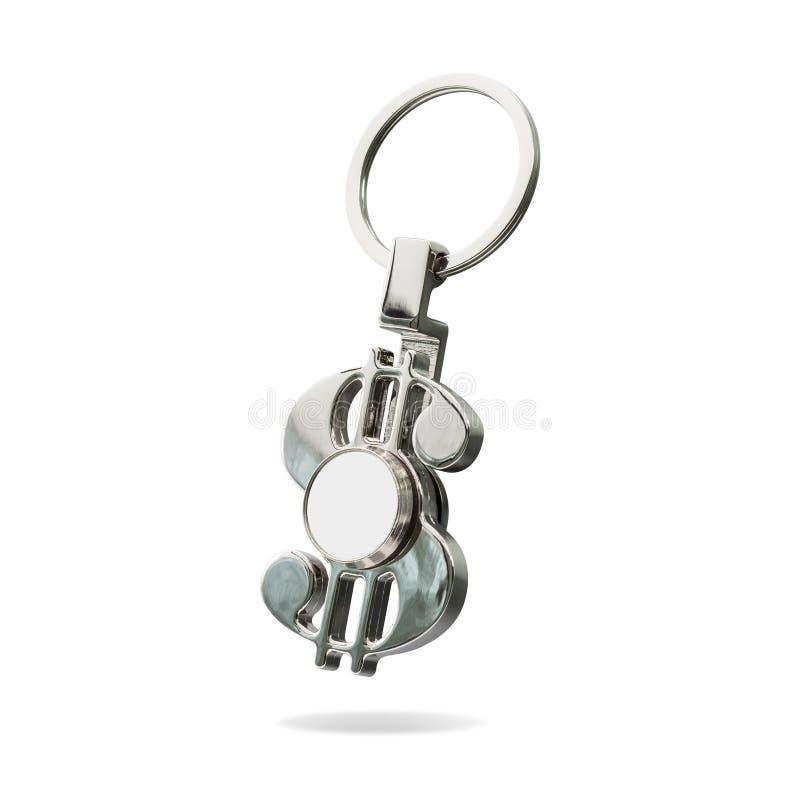 在白色背景隔绝的钢钥匙圈 您的设计的钥匙型片链子 裁减路线或删去蒙太奇的对象能 皇族释放例证