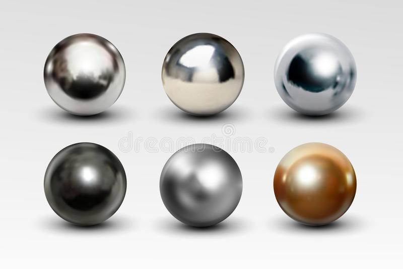 在白色背景隔绝的镀铬物球集合现实 库存例证