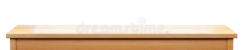 在白色背景隔绝的长的松木桌面,3d翻译 皇族释放例证
