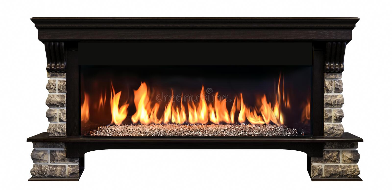 在白色背景隔绝的长的灼烧的壁炉 免版税库存图片