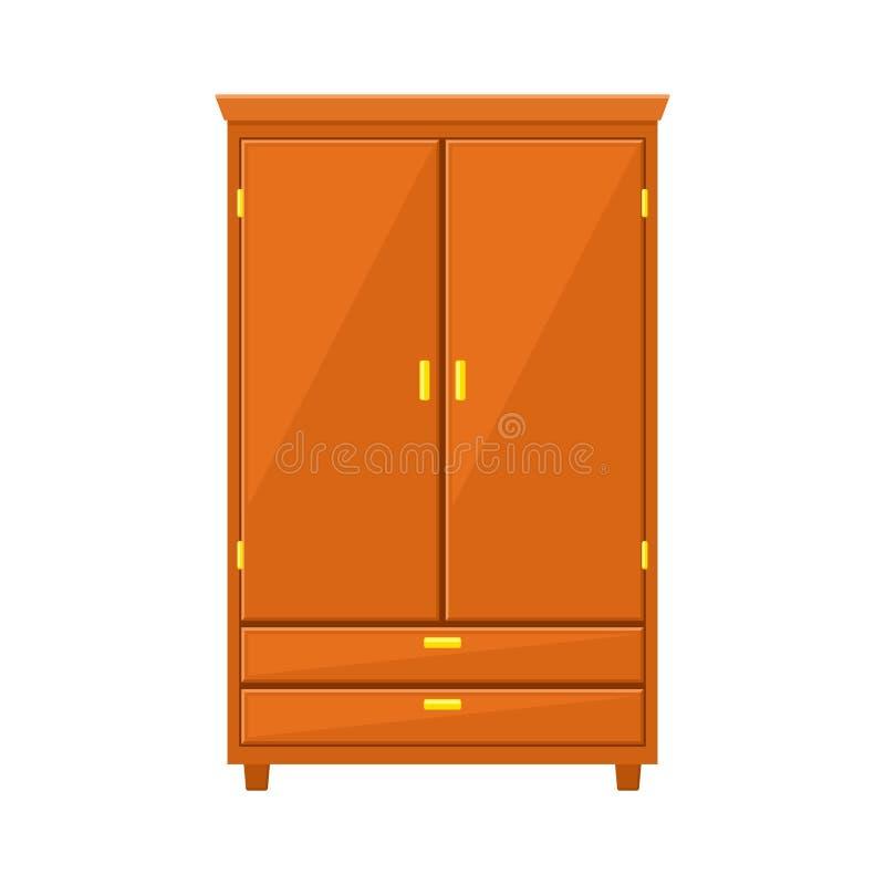 在白色背景隔绝的闭合的衣橱 自然木家具 在平的样式的衣橱象 室内部 库存例证