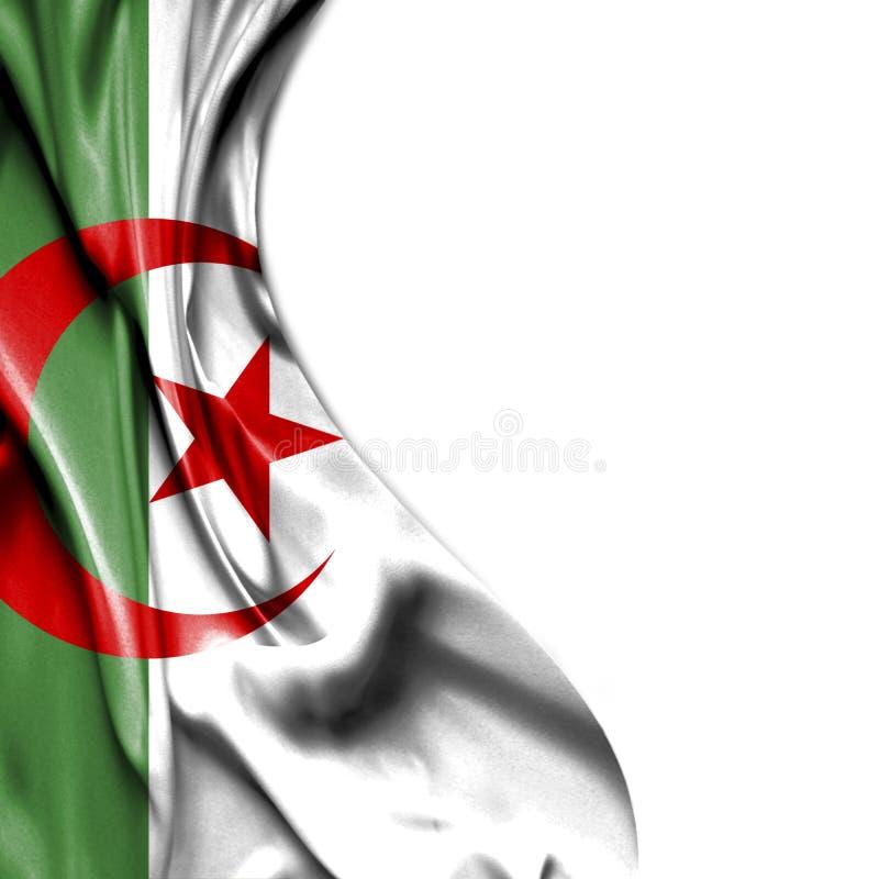 在白色背景隔绝的阿尔及利亚挥动的缎旗子 库存例证