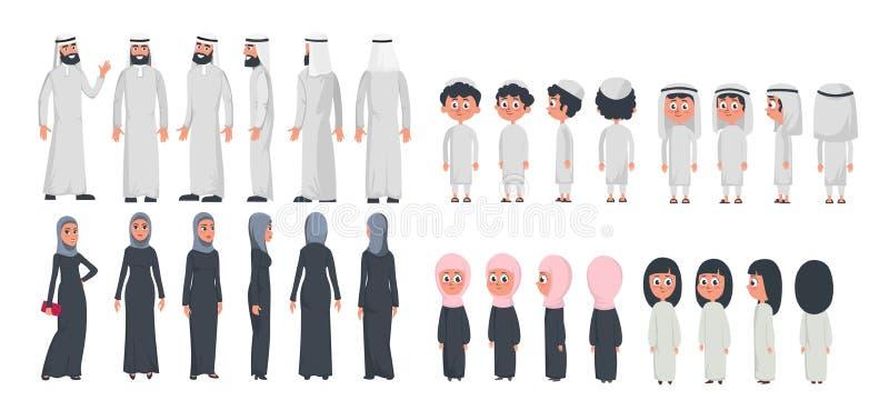 在白色背景隔绝的阿拉伯回教家庭字符 回教丈夫、佩带阿拉伯衣物前面,后方的妻子和孩子 向量例证