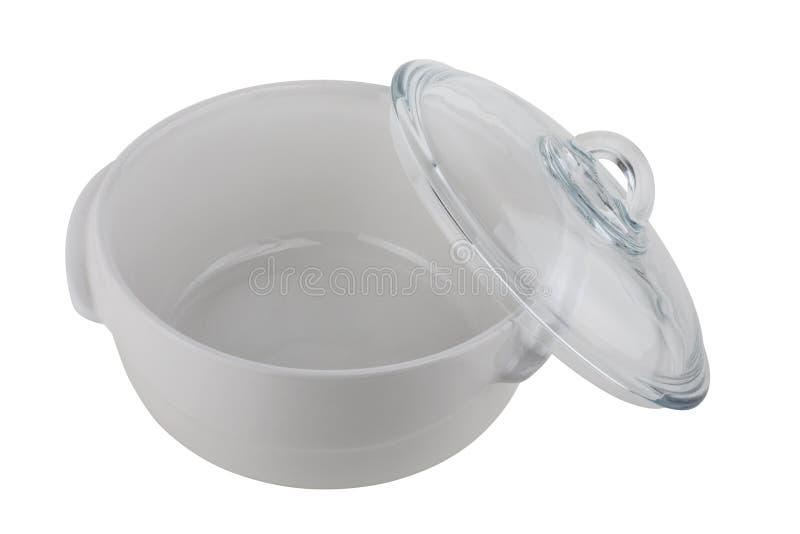 在白色背景隔绝的陶瓷平底深锅 免版税图库摄影