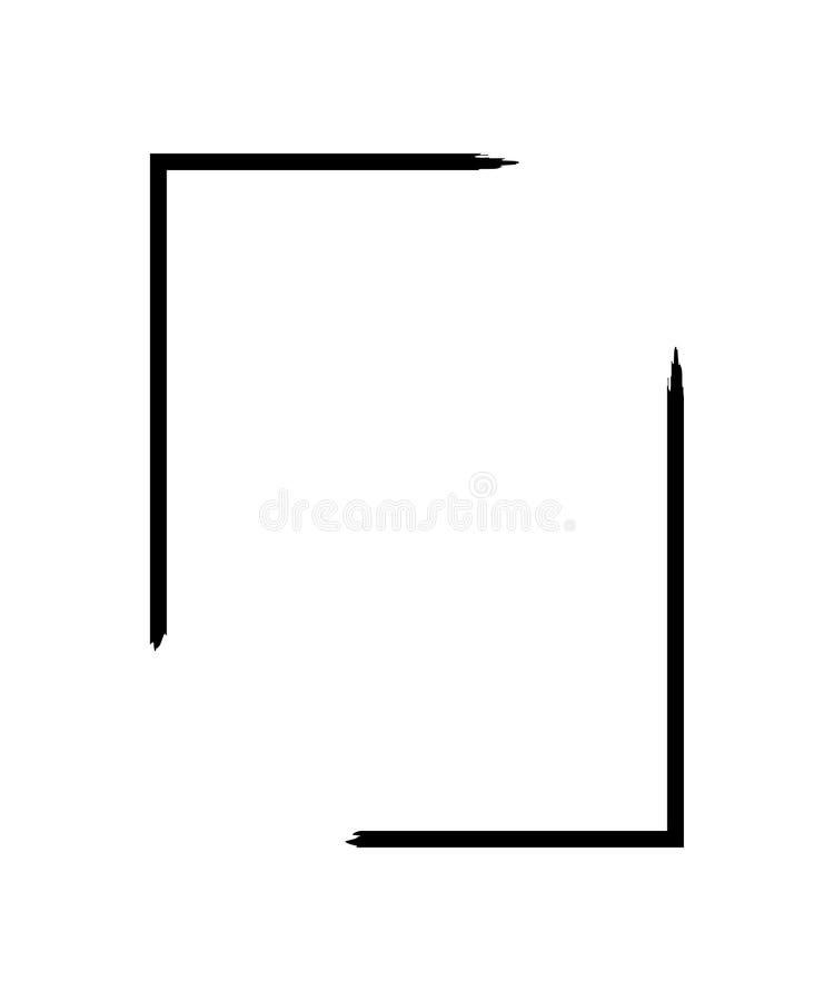 在白色背景隔绝的难看的东西框架 黑长方形焦点边界,土冲程模板 画笔作用 向量例证