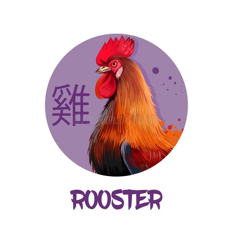 在白色背景隔绝的雄鸡中国占星字符 新年的标志2017年 宠爱在圆的圈子的母鸡鸟与hiero 库存例证