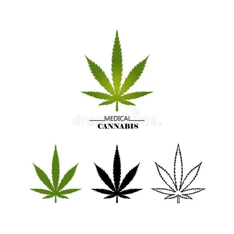 在白色背景隔绝的集合不同的商标大麻叶子 医疗大麻绿色,黑和稀薄的线叶子- 向量例证