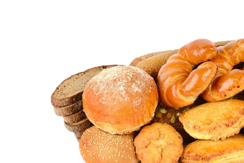 在白色背景隔绝的面包和面包店产品 自由温泉 免版税图库摄影