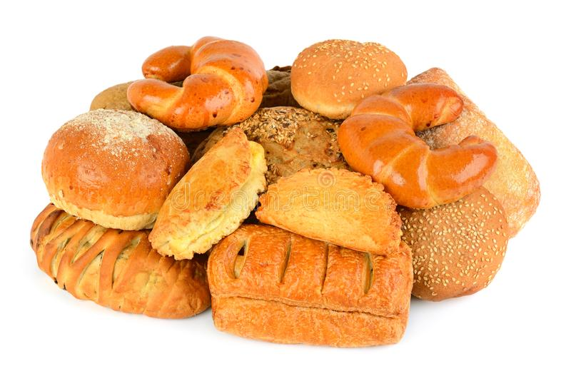 在白色背景隔绝的面包和面包店产品 图库摄影