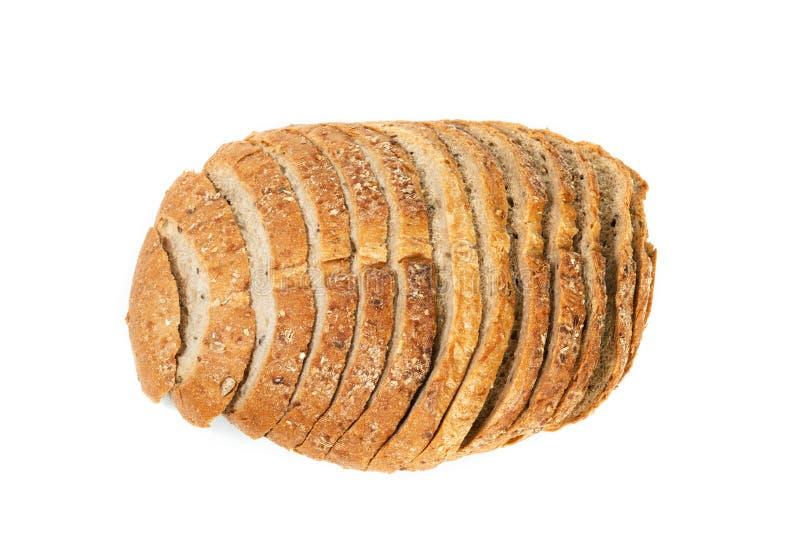 在白色背景隔绝的面包大面包,顶视图 免版税库存图片