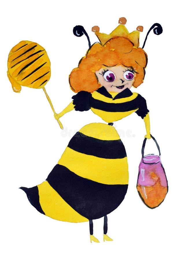 在白色背景隔绝的鞋子的滑稽的水彩飞行蜂用蜂蜜 向量例证
