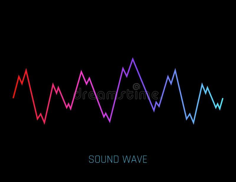 在白色背景隔绝的音乐声波 音频调平器技术,脉冲音乐会 r 向量例证
