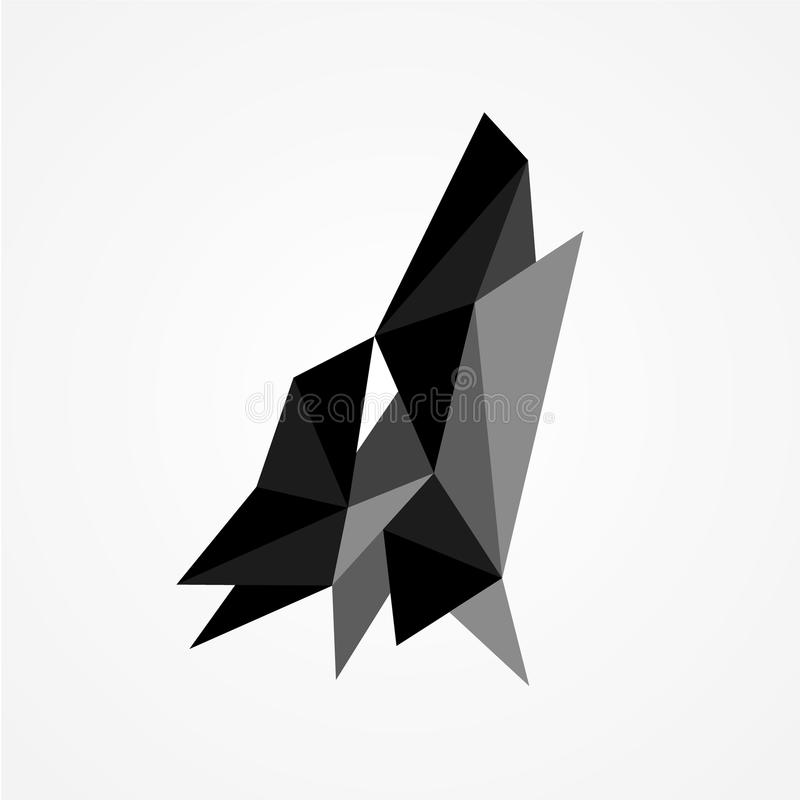 在白色背景隔绝的顶头狼吼声几何设计传染媒介  皇族释放例证