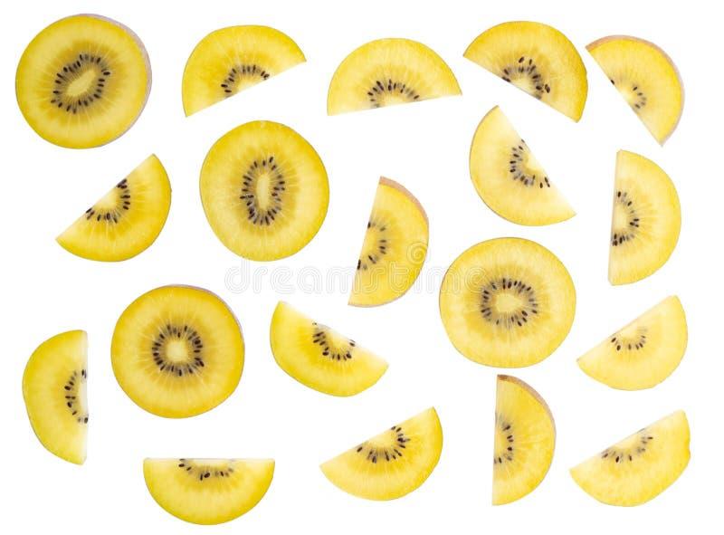 在白色背景隔绝的顶视图金黄猕猴桃切片, fr 库存照片