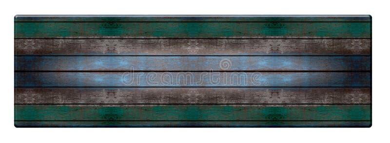 在白色背景隔绝的顶面木长的桌,蓝绿色书桌 免版税库存照片