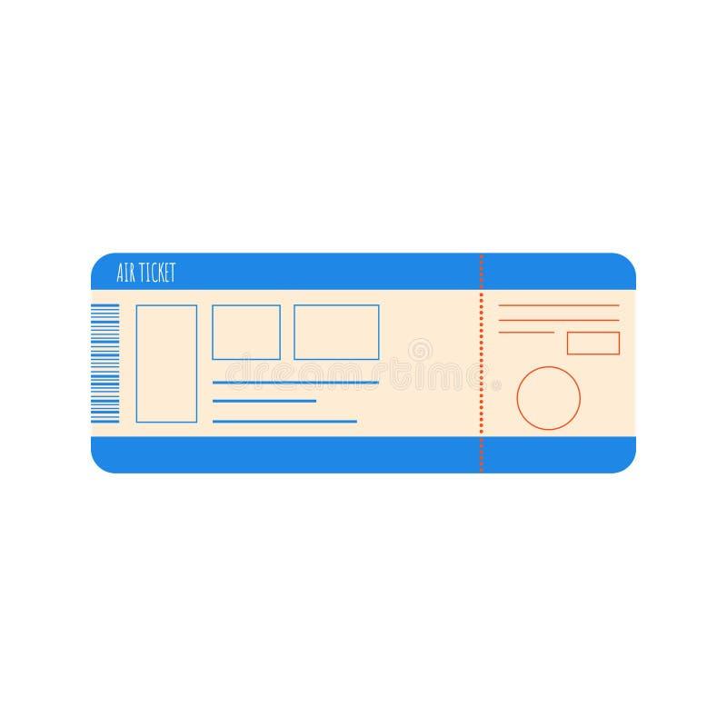 在白色背景隔绝的飞机票平的样式设计象标志传染媒介例证 皇族释放例证