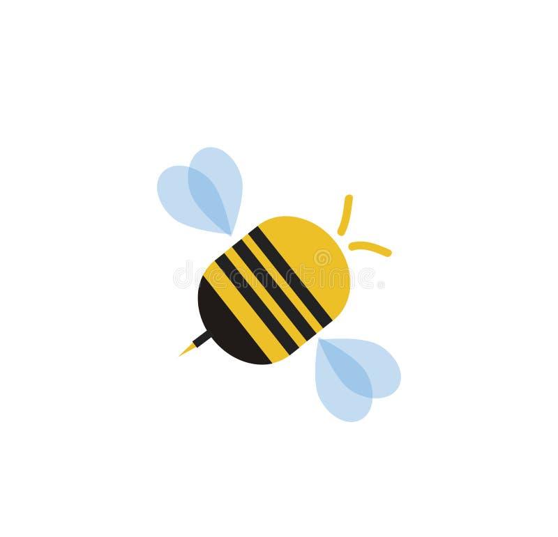 在白色背景隔绝的飞行的动画片蜂 向量例证