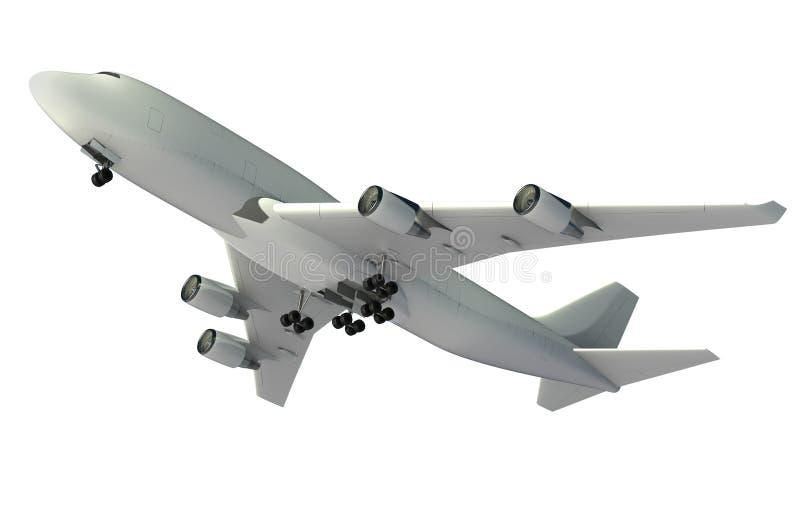 在白色背景隔绝的飞行飞机 库存例证