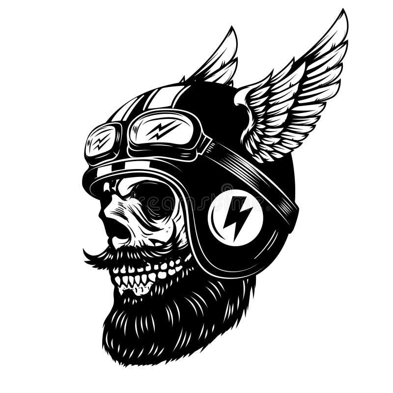 在白色背景隔绝的飞过的盔甲的竟赛者头骨 象征的,海报, T恤杉设计元素 库存例证