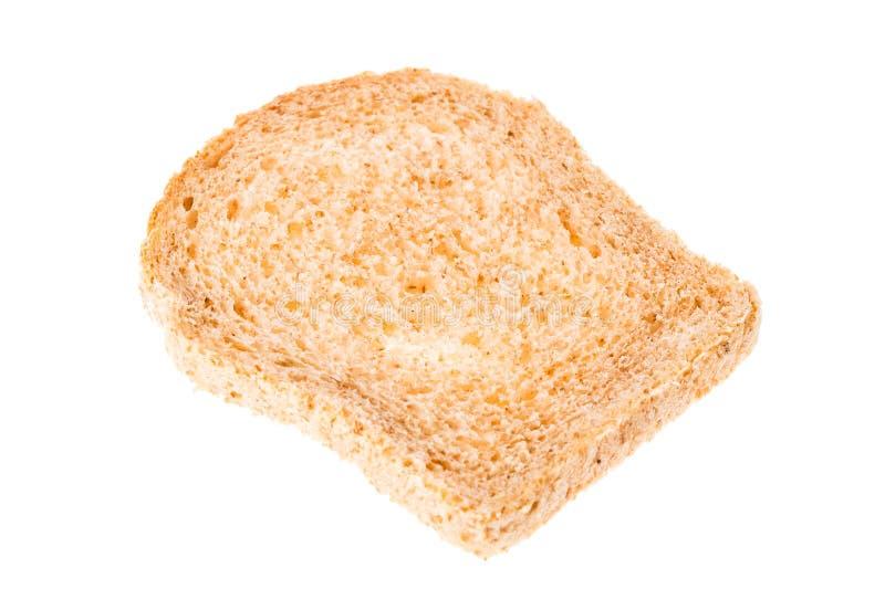在白色背景隔绝的鲜美被切的新鲜面包片 库存照片
