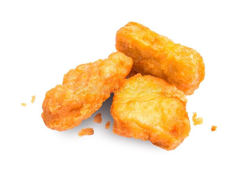 在白色背景隔绝的鸡块 由鸡做的可口开胃菜 库存照片