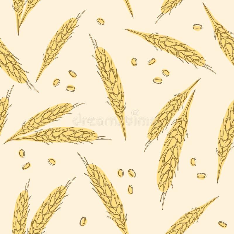 在白色背景隔绝的麦子耳朵无缝的手拉的样式作为成套设计元素 库存例证