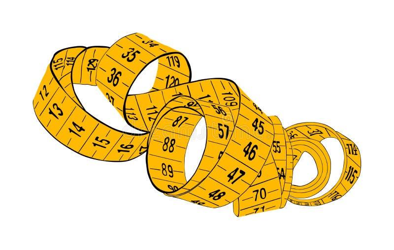 在白色背景隔绝的黄色测量的磁带传染媒介 螺旋时尚卷尺传染媒介 皇族释放例证