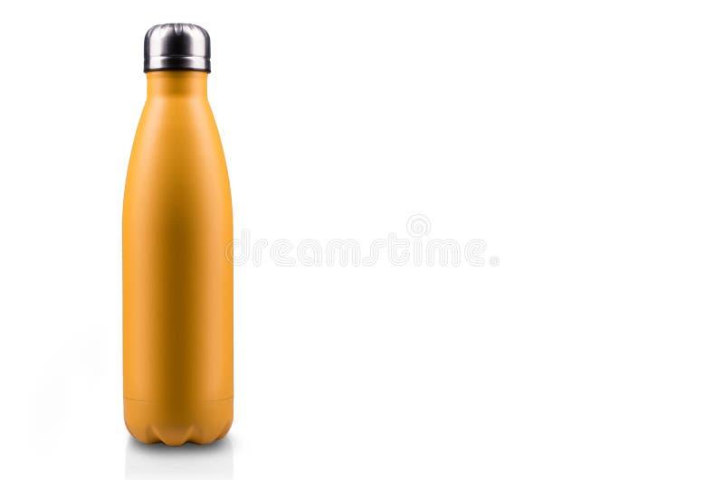 在白色背景隔绝的黄色表面无光泽,空的不锈的热水瓶特写镜头 背景画笔关闭查出摄影白色的工作室牙 库存例证