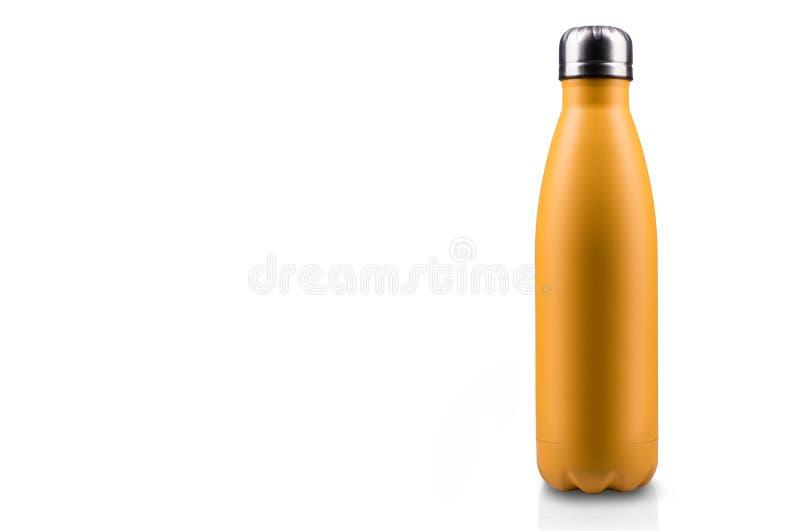 在白色背景隔绝的黄色表面无光泽,空的不锈的热水瓶特写镜头 背景画笔关闭查出摄影白色的工作室牙 向量例证