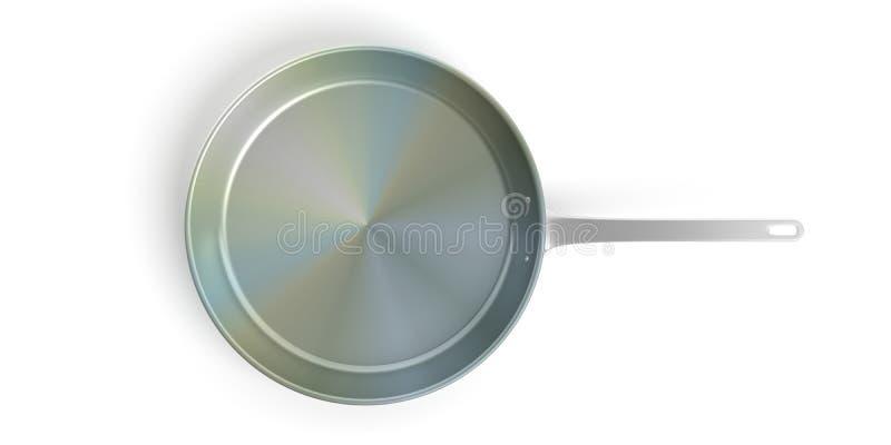 在白色背景隔绝的黑不锈钢煎锅 3d例证 向量例证