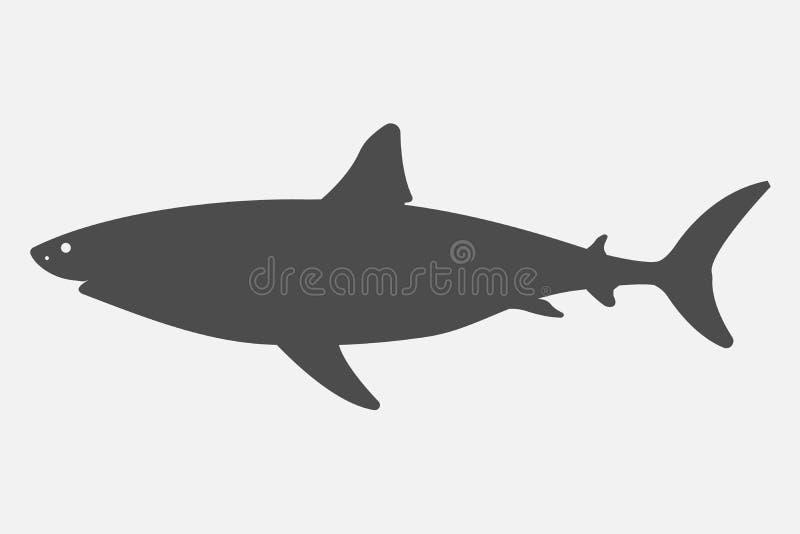 在白色背景隔绝的黑剪影鲨鱼 也corel凹道例证向量 皇族释放例证