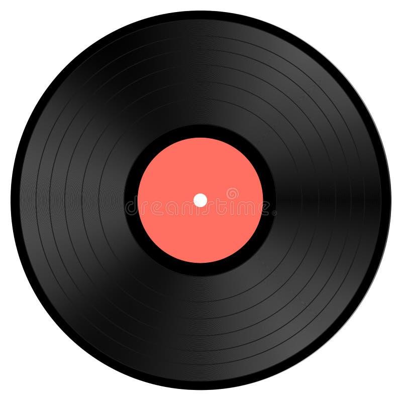 在白色背景隔绝的黑唱片 库存例证