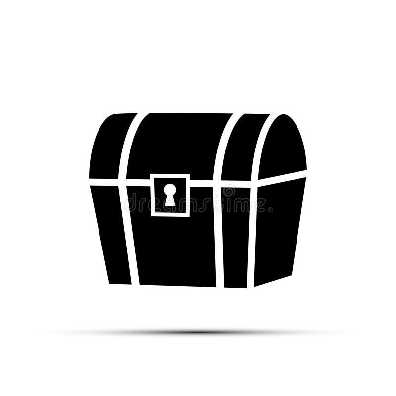 在白色背景隔绝的黑宝物箱象 向量要素 向量例证