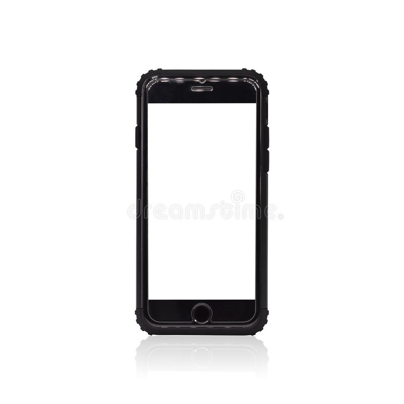 在白色背景隔绝的黑智能手机 您的设计的手机框架 裁减路线或删去蒙太奇的对象 库存例证