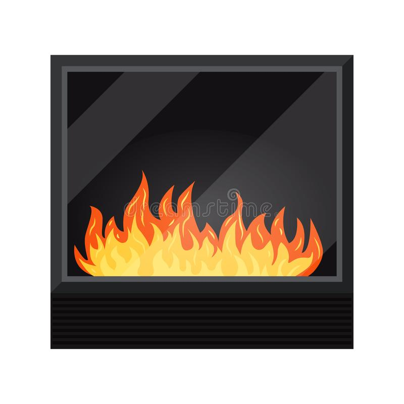 在白色背景隔绝的黑现代电或气体舒适fireburning的壁炉象,暖气,冬天的元素 皇族释放例证