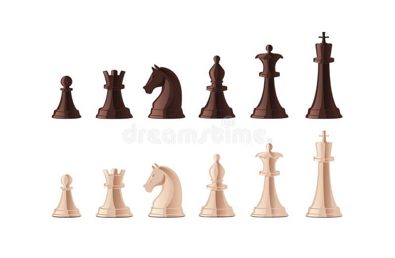 在白色背景隔绝的黑白棋子的汇集 捆绑战略棋的图 皇族释放例证