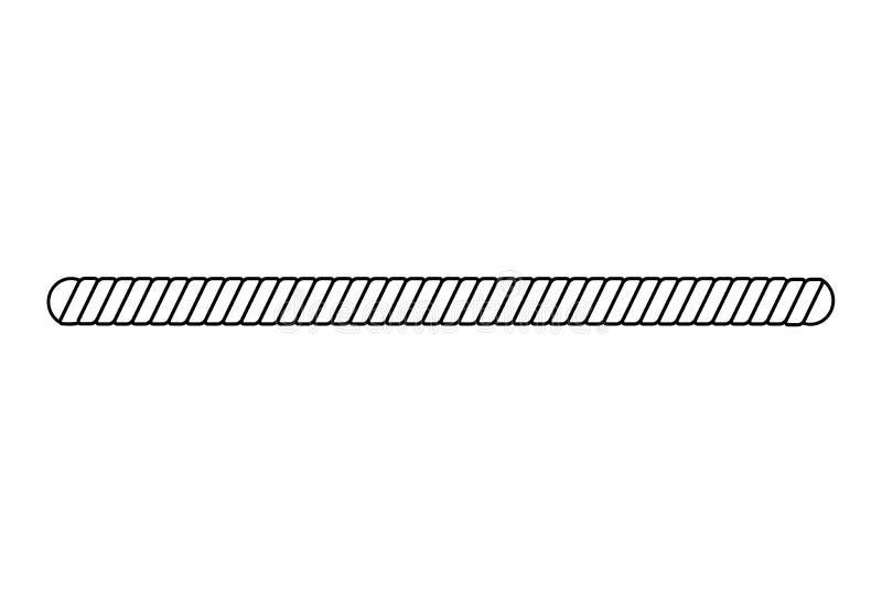 在白色背景隔绝的黑白绳索边界,与被环绕的边缘的简单的平直的扭转的绳子形状 皇族释放例证