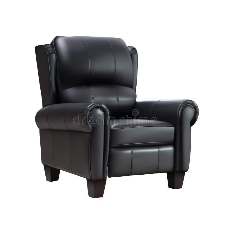 在白色背景隔绝的黑皮革扶手椅子 也corel凹道例证向量 向量例证