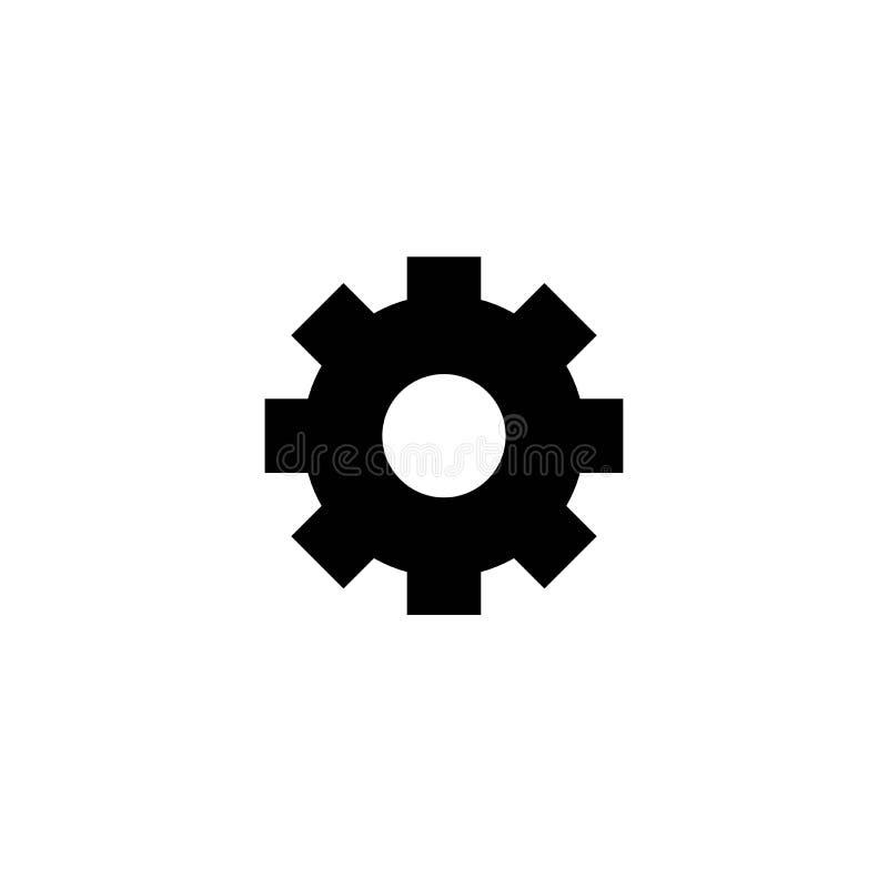 在白色背景隔绝的黑简单的齿轮象 鸟翼末端传染媒介平的例证 皇族释放例证