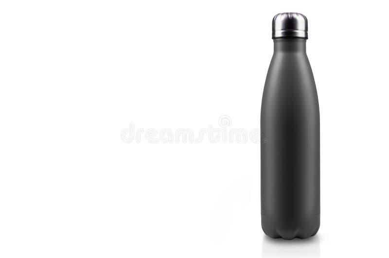 在白色背景隔绝的黑表面无光泽,空的不锈的热水瓶特写镜头 背景画笔关闭查出摄影白色的工作室牙 库存例证