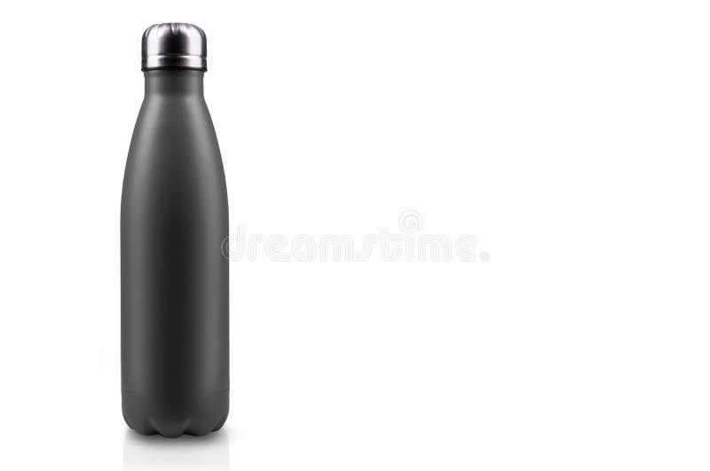 在白色背景隔绝的黑表面无光泽,空的不锈的热水瓶特写镜头 背景画笔关闭查出摄影白色的工作室牙 皇族释放例证