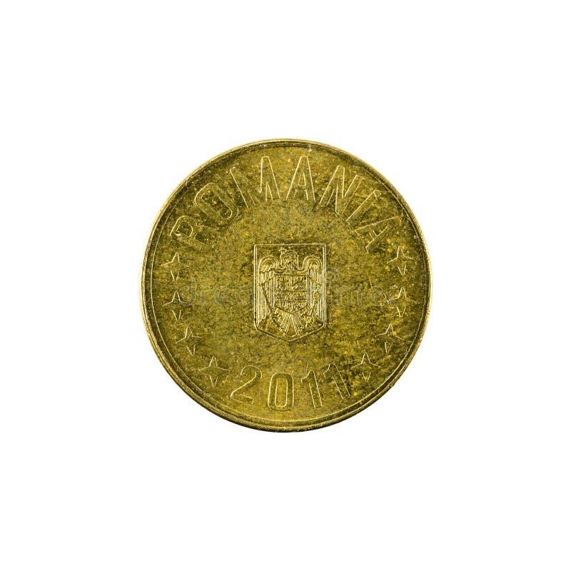 在白色背景隔绝的1罗马尼亚禁令硬币2011相反 库存照片