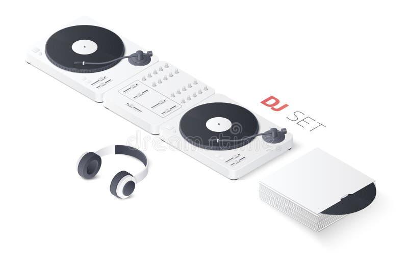 在白色背景隔绝的3D DJ混合的转盘集合 等量传染媒介例证 向量例证