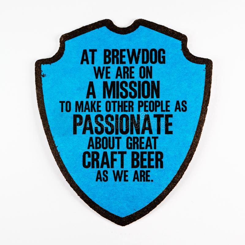 在白色背景隔绝的Brewdog beermat 库存图片