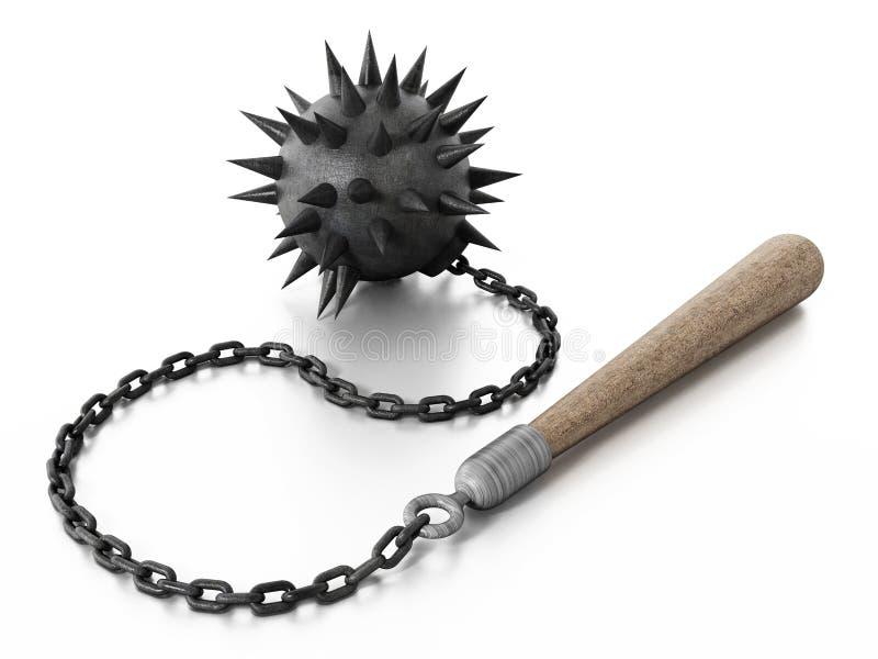 在白色背景隔绝的Chaines钉头锤 3d例证 库存例证
