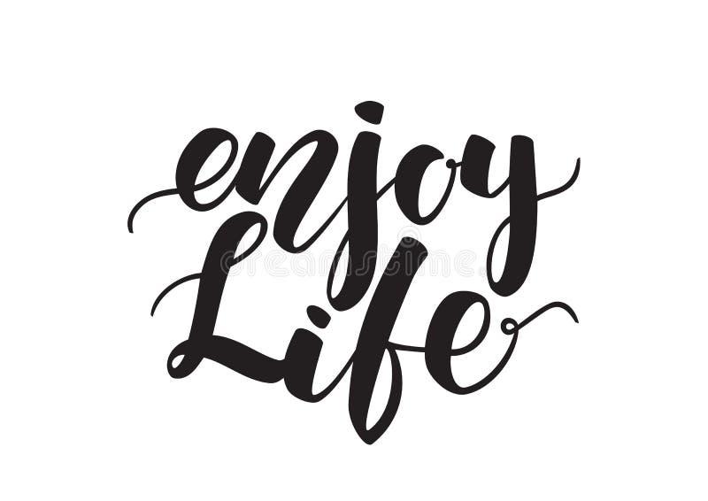 在白色背景隔绝的Enjoy生活手写的刷子字法 向量例证