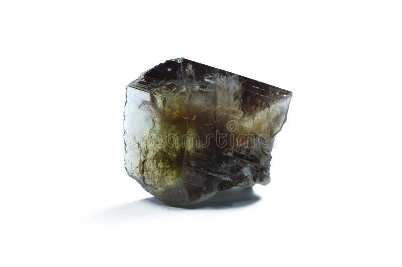 在白色背景隔绝的Ferroaxinite水晶多颜色 图库摄影