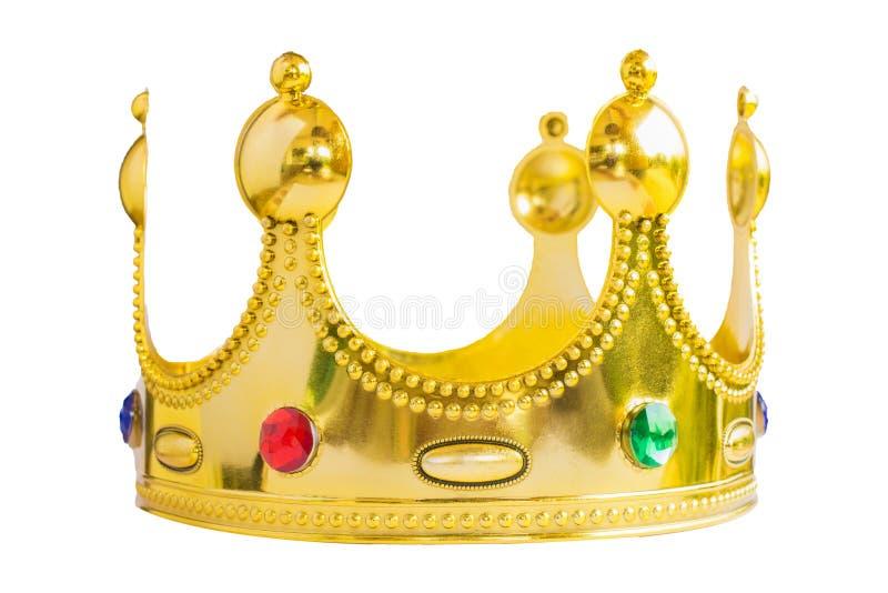 在白色背景隔绝的Glod国王冠 免版税库存图片