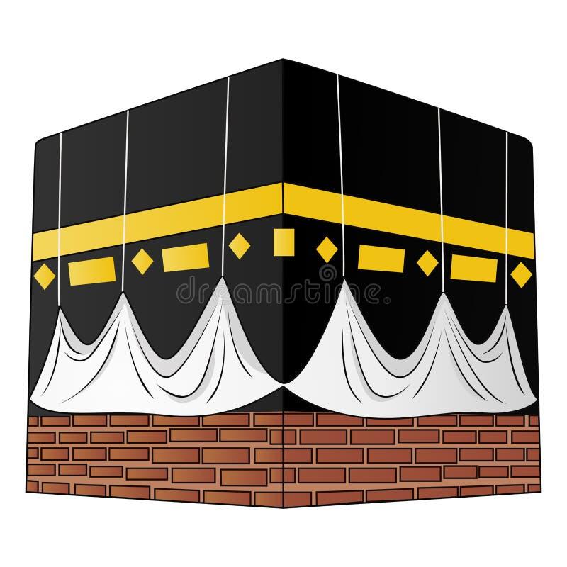 在白色背景隔绝的kaaba的例证 向量例证